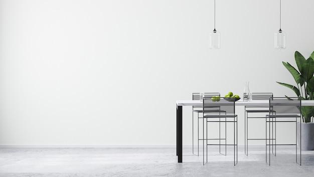 Moderna camera bianca luminosa interna con tavolo da bar contemporaneo e sgabelli da bar, parete vuota mock up, stile minimalista scandinavo, rendering 3d