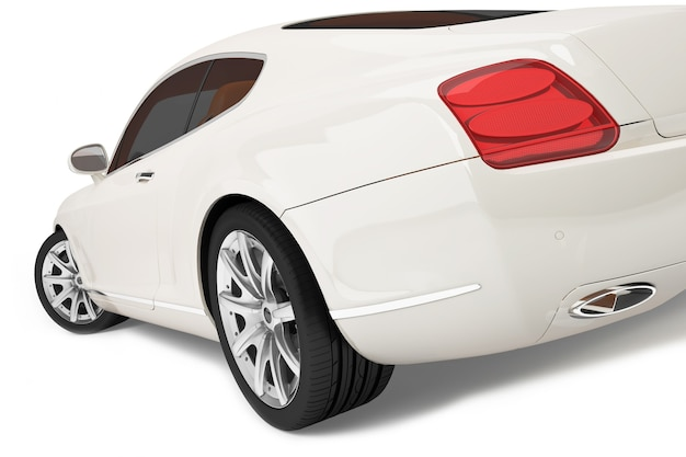 Auto moderna su bianco - rendering 3d