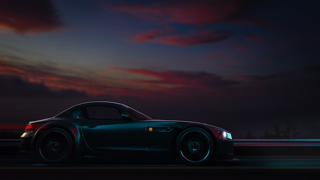 Le auto moderne sono sulla strada. illustrazione 3d e rendering 3d.