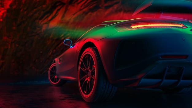 Le auto moderne sono nella stanza dello studio. illustrazione 3d e rendering 3d.