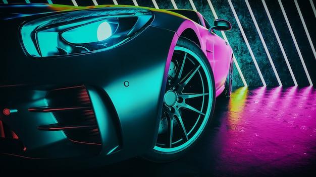 Le auto moderne sono nella stanza dello studio. rendering 3d e illustrazione.