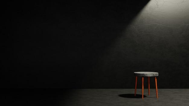 Sedia moderna in stile loft interno stanza di cemento scuro vuoto astratto. illustrazione di rendering 3d