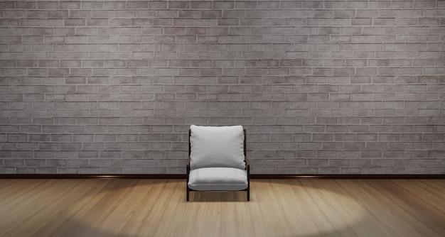 Sedia moderna posizionata al centro della stanza. studio con pavimento in parquet c'è una luce che risplende dall'alto. scena calda con l'illustrazione 3d del modello del pavimento in legno