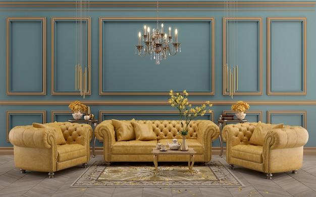 Interni classici moderni con divano e poltrona