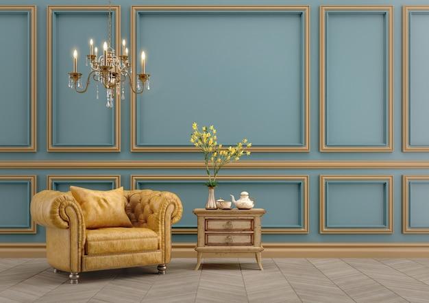 Interni classici moderni con poltrona gialla
