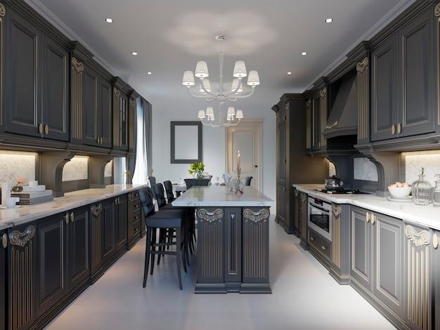 Design moderno della cucina classica con armadi neri e piano di lavoro e pavimento in marmo bianco. rendering 3d.