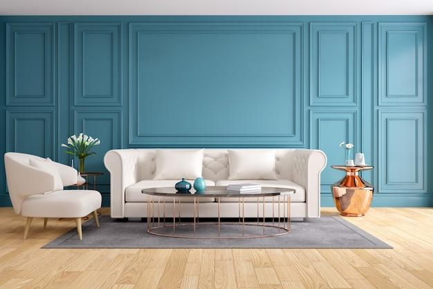 Interior design moderno e classico del salone, rappresentazione 3d