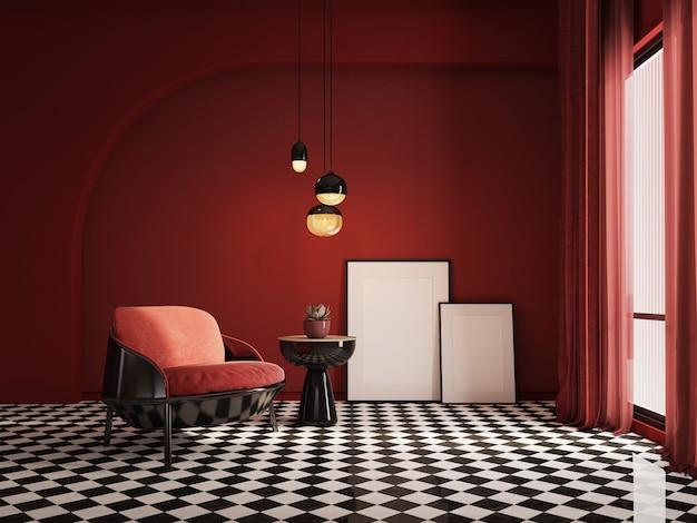 Interni in stile classico moderno con poltrona rossa e tela bianca Foto Premium