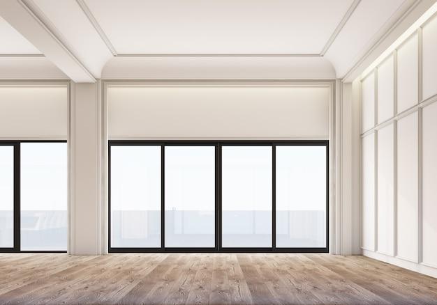Spazio bianco classico moderno con decorazione di pannelli a parete e pavimento in legno. rendering 3d