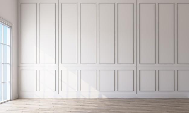 Interno vuoto bianco classico moderno con pannelli a parete e pavimento in legno. rendering 3d