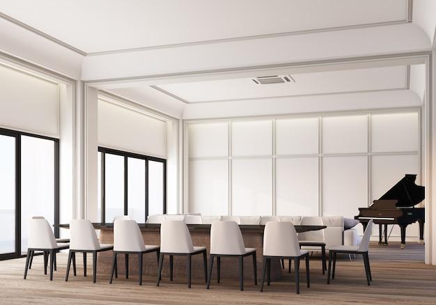 Spazio per soggiorno e sala da pranzo bianco classico moderno con decorazione di pannelli a parete e pavimento in legno con pianoforte a coda. rendering 3d