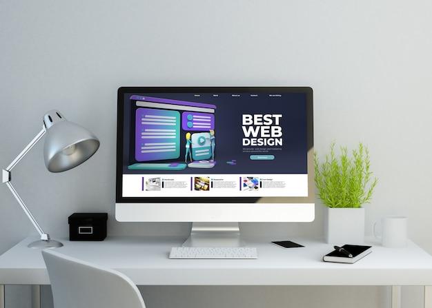 Mockup di spazio di lavoro pulito moderno con sito web modello reattivo sullo schermo