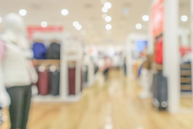 Interno del negozio di abbigliamento moderno sfocatura sfondo sfocato astratto con luce bokeh