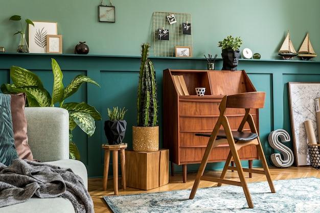 Composizione moderna dell'interno dell'ufficio domestico elegante concetto vintage di modello di arredamento per la casa