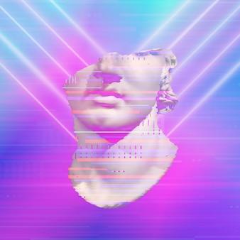 Poster di arte concettuale moderna con statua antica colorata rosa blu collage di arte contemporanea