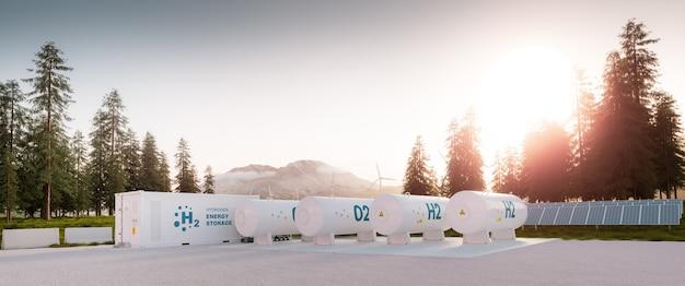 Un moderno contenitore per l'accumulo di energia a idrogeno con sistema di alimentazione accompagnato da pannelli solari e sistema di turbine eoliche situato nella natura con il monte st. helens sullo sfondo. rendering 3d.