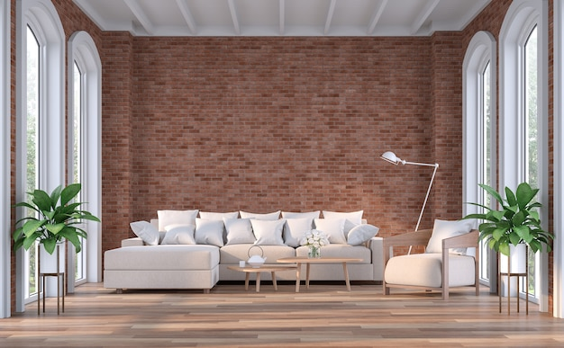 Soggiorno moderno contemporaneo con muro di mattoni rosso vuoto 3d render
