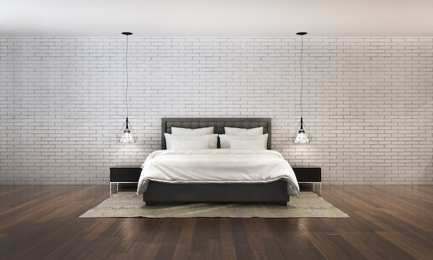 Rendering 3d della camera da letto moderna in stile contemporaneo ci sono pavimenti in legno decorati con letto in tessuto bianco e sfondo texture muro di mattoni