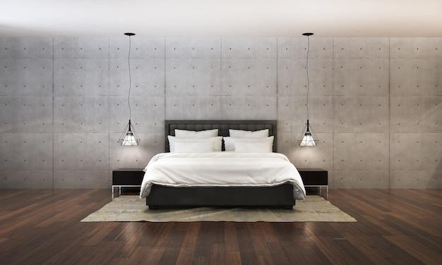 Rendering 3d della camera da letto moderna in stile contemporaneo ci sono pavimenti in legno decorati con letto in tessuto bianco e sfondo texture muro di cemento vuoto