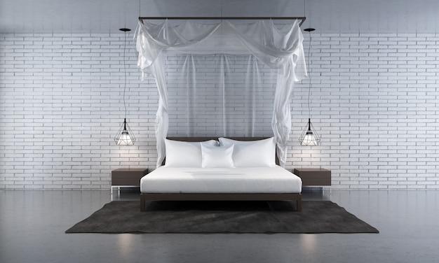Rendering 3d della camera da letto moderna in stile contemporaneo ci sono pavimenti in legno decorati con letto in tessuto bianco e sfondo texture muro di mattoni bianchi
