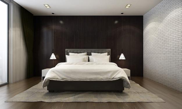 Rendering 3d della camera da letto moderna in stile contemporaneo ci sono pavimenti in legno decorati con letto in tessuto bianco e sfondo nero con texture della parete