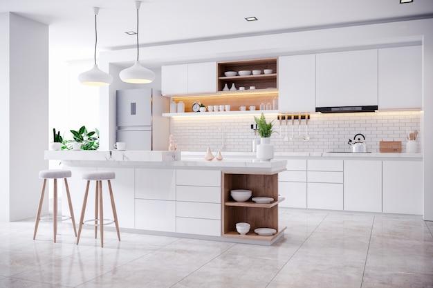 Interno bianco moderno contemporaneo della stanza della cucina