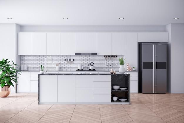 Cucina bianca contemporanea moderna