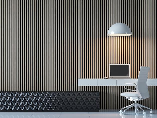 L'interno moderno e contemporaneo della stanza di lavoro decora la parete con il modello di legno verticale 3d render