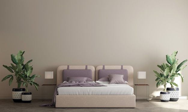 Interior design moderno e accogliente della camera da letto e fondo beige della parete di struttura