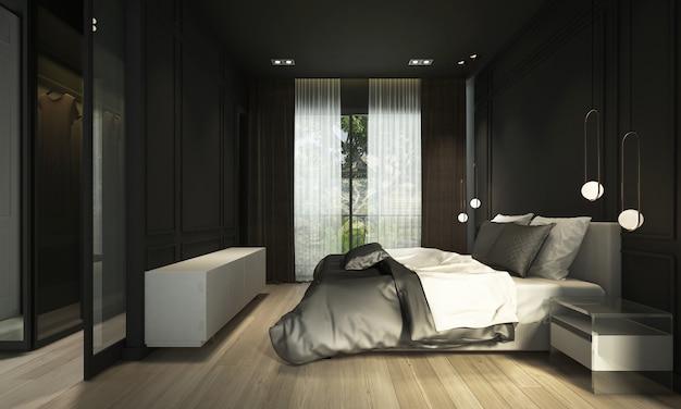 Interior design moderno e accogliente della camera da letto e fondo nero della parete di struttura