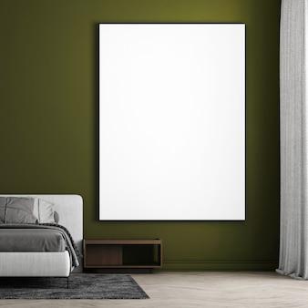 Interior design moderno e accogliente della camera da letto e priorità bassa della parete di struttura verde e telaio in tela vuota