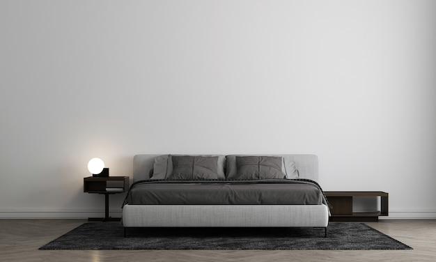 Interior design moderno e accogliente della camera da letto e priorità bassa bianca della parete di struttura