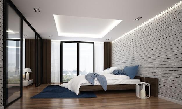 Moderna camera da letto accogliente interno e muro di mattoni bianco vuoto