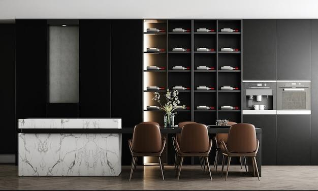 La moderna e accogliente sala da pranzo con parete nera ha dispensa e decorazioni, mock up interni, rendering 3d