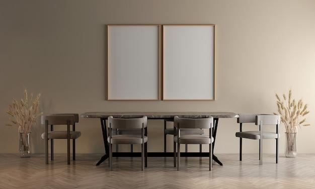 Design interno moderno e accogliente della sala da pranzo e priorità bassa beige della parete di struttura e cornice di tela vuota