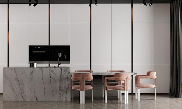 Interior design moderno e accogliente della sala da pranzo e fondo bianco della parete di struttura del modello