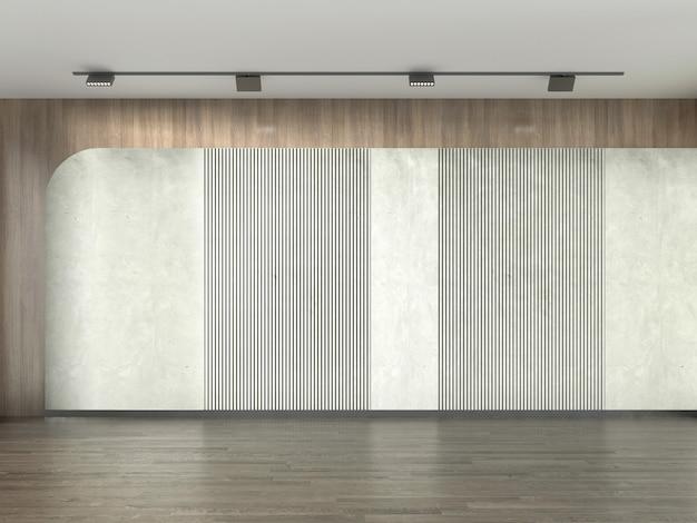 Interior design moderno accogliente soggiorno vuoto e priorità bassa di struttura della parete del reticolo di cemento