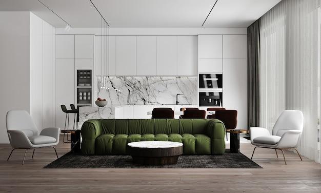 Mock-up di interni domestici moderni e accoglienti, soggiorno e sala da pranzo, tavolo da tè accogliente e decorazioni in soggiorno bianco, rendering 3d