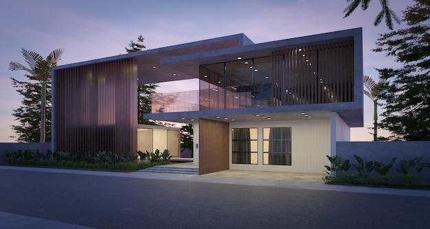 Casa moderna e accogliente in stile di lusso. scena serale. rendering 3d