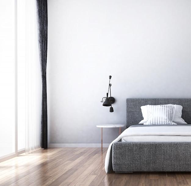 Interni dal design moderno e accogliente interno della camera da letto e credenza e cassettiera e priorità bassa bianca della parete