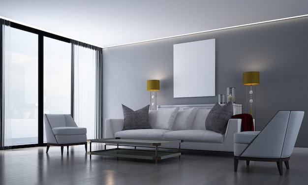 Interni dal design moderno e accogliente da interno o soggiorno e credenza e cassettiera e sfondo grigio muro di piastrelle