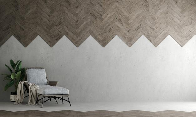 Interni dal design moderno e accogliente e soggiorno e muro di cemento vuoto