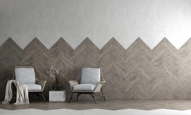 Interni dal design moderno e accogliente e soggiorno e parete vuota in legno e cemento