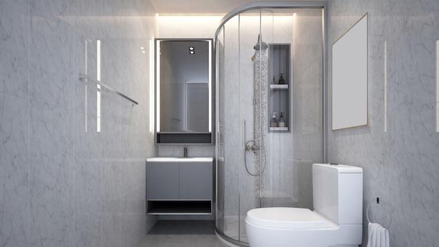 Interior design moderno e accogliente di un piccolo bagno e motivo a parete