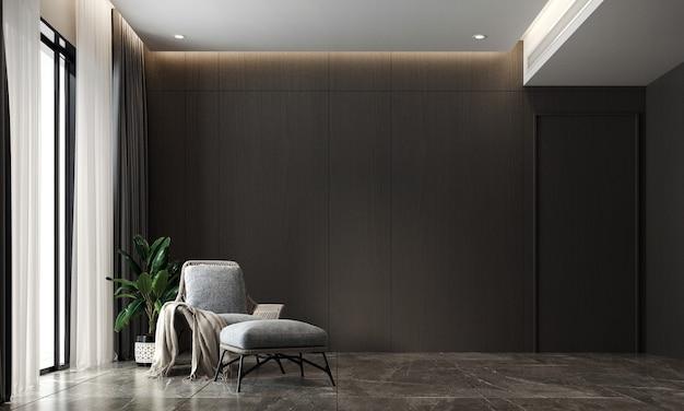 Soggiorno moderno e accogliente e rendering 3d di interior design di sfondo texture parete nera
