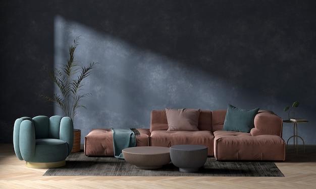 Soggiorno moderno e accogliente e rendering 3d di interior design del fondo di struttura della parete blu