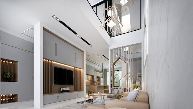 Soggiorno moderno e accogliente e design degli interni doppio spazio e parete in marmo