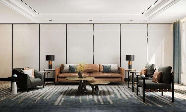 Soggiorno moderno e accogliente e rendering 3d di interior design di sfondo texture parete vuota