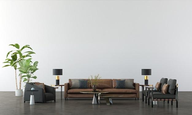 Soggiorno moderno e accogliente e rendering 3d di interior design del fondo di struttura della parete bianca vuota