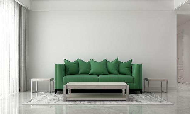 Moderno e accogliente soggiorno e divano verde e design interno di sfondo texture muro bianco